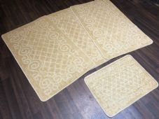 ROMANY GYPSY WASHABLES NON SLIP SET OF 4 MATS-RUGS LIGHT BEIGE CHEAPEST AROUND